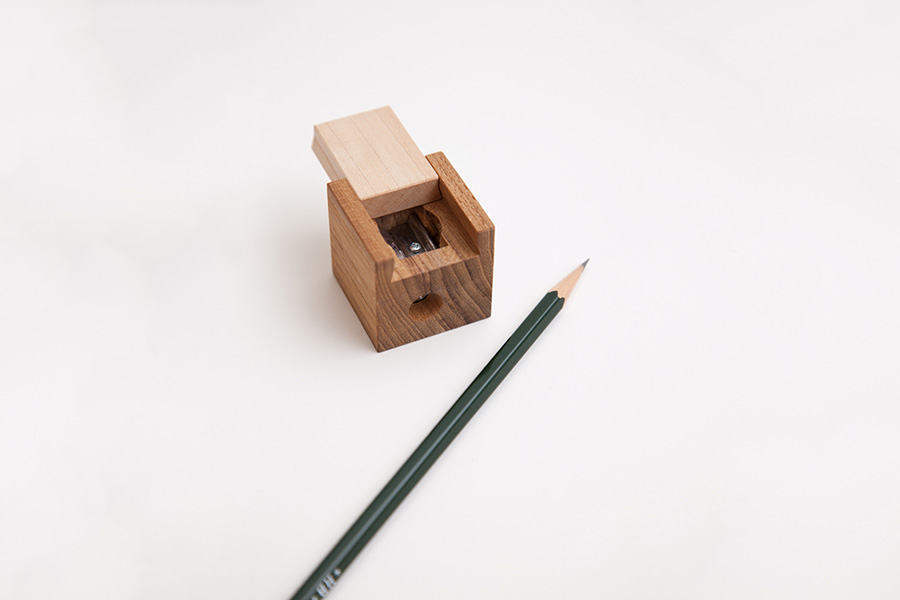 Cube-shaped pencil sharpener