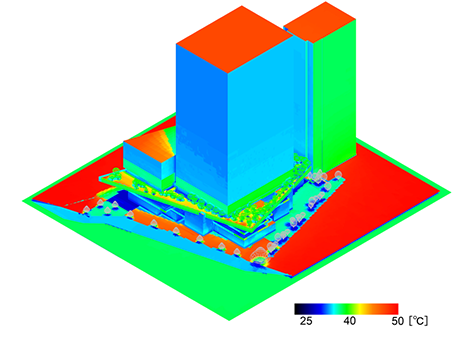 Example of analysis of the thermal environment surrounding a building