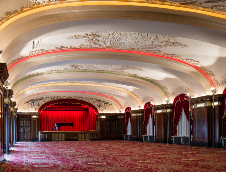 Hotel New Grand Rainbow Ballroom after completion of renovation work Faithful replication of the finer design details while improving ceiling earthquake resistance