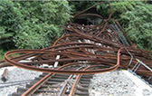 Rails destroyed by the debris flow