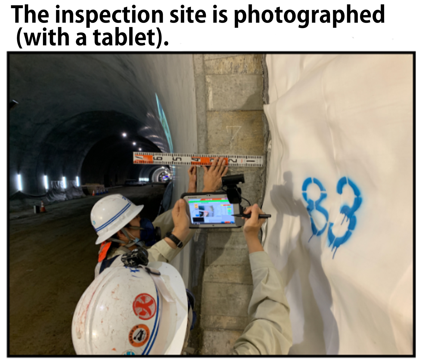 The inspection spot is photographed (with a tablet)
