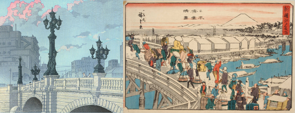 Ukiyoe prints of the Nihonbashi Bridge in the past