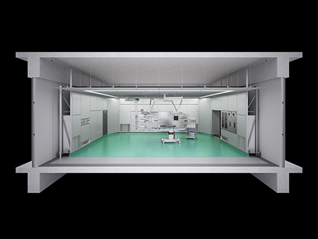 Image of an operating room with the Seismic Isolation Floor installed