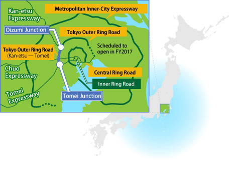 Three Ring Roads Circling the Greater Tokyo Area