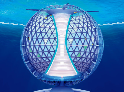 The internal tower is used to reinforce the spherical shell.