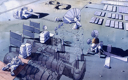 Image of a lunar base built of concrete produced with resources from the moon