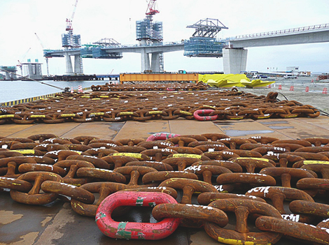 Massive chains used to anchor the floating structure