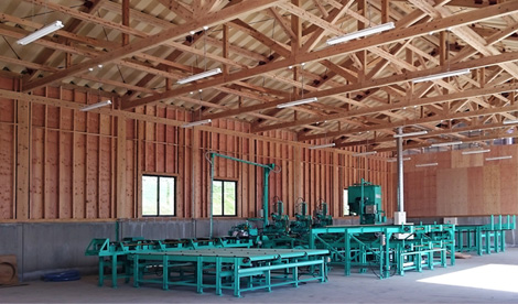 Interior view of a lumber processing plant