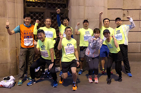 We also actively support employee fitness. These are Shimizu China staff members who participated in the Shanghai International Marathon.